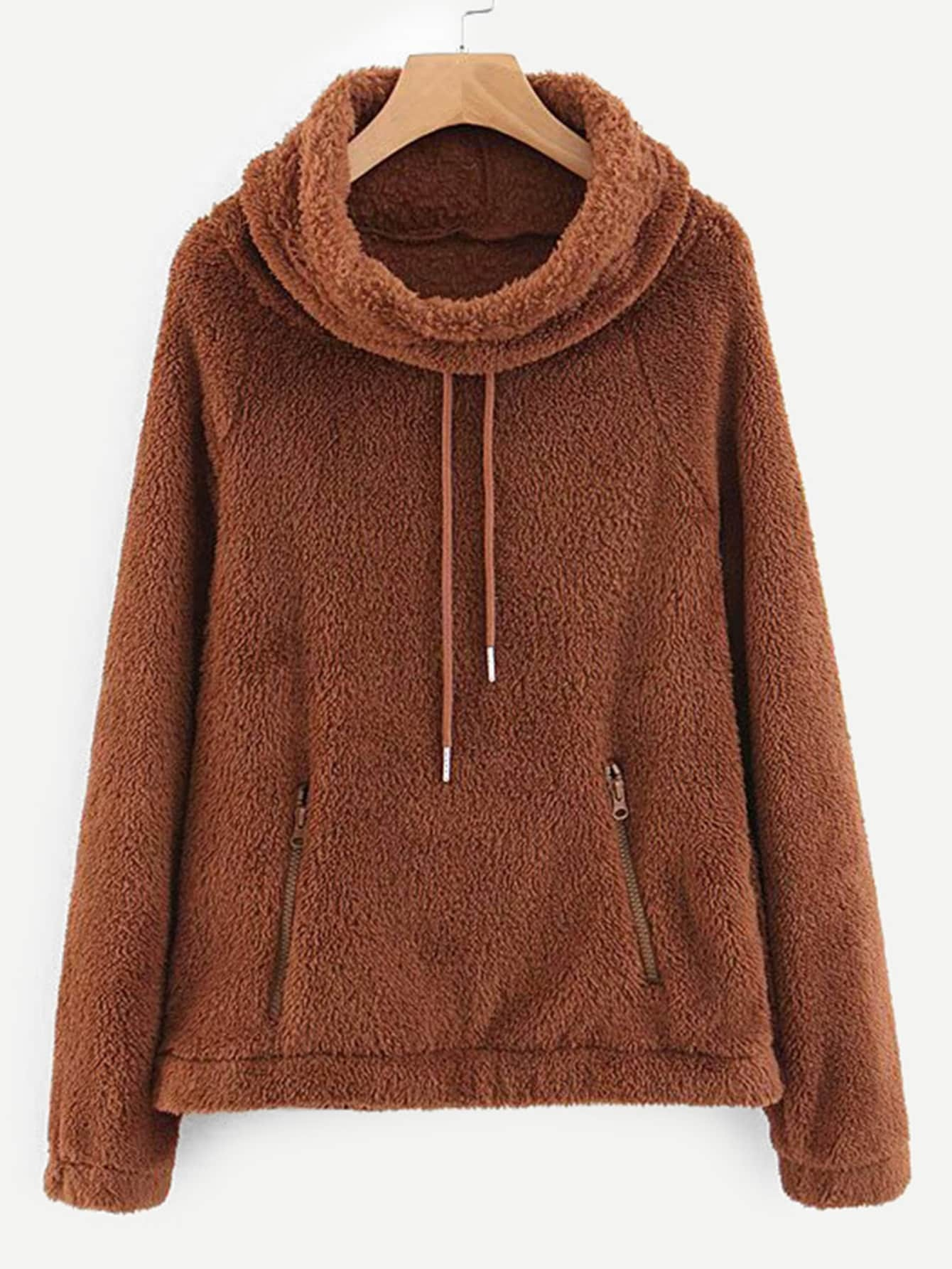 Zip Detail Drawstring Teddy Sweatshirt Zip Detail Drawstring Teddy Sweatshirt