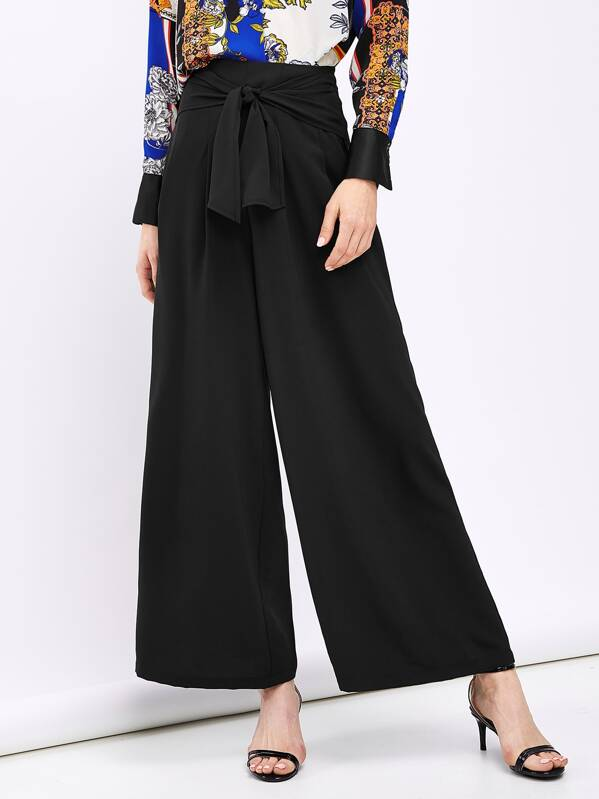 Shein Tie Waist Solid Wide Leg Pants by Sheinside