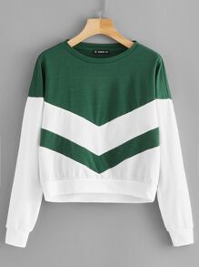 Two-tone Chevron Front Pullover