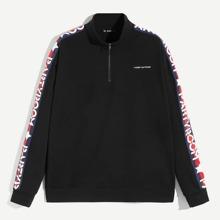 Guys Letter & Stripe Print Sleeve Half Placket Pullover
