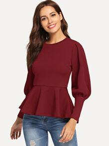 Leg-of-mutton Sleeve Peplum Top