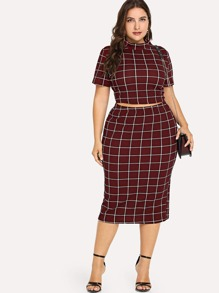 Plus Mock-neck Grid Top and Skirt Set