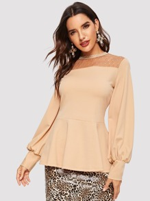 Mesh Yoke Lace Trim Keyhole Back Peplum Top