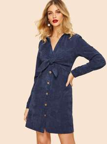 80s Knot Front Buttoned Dress