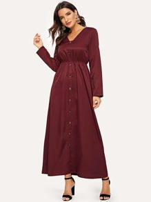 V Neck Fit & Flare Shirt Dress