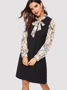Tie Neck Contrast Chain Print Sleeve Dress