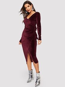 Ruffle Detail Surplice Wrap Velvet Dress