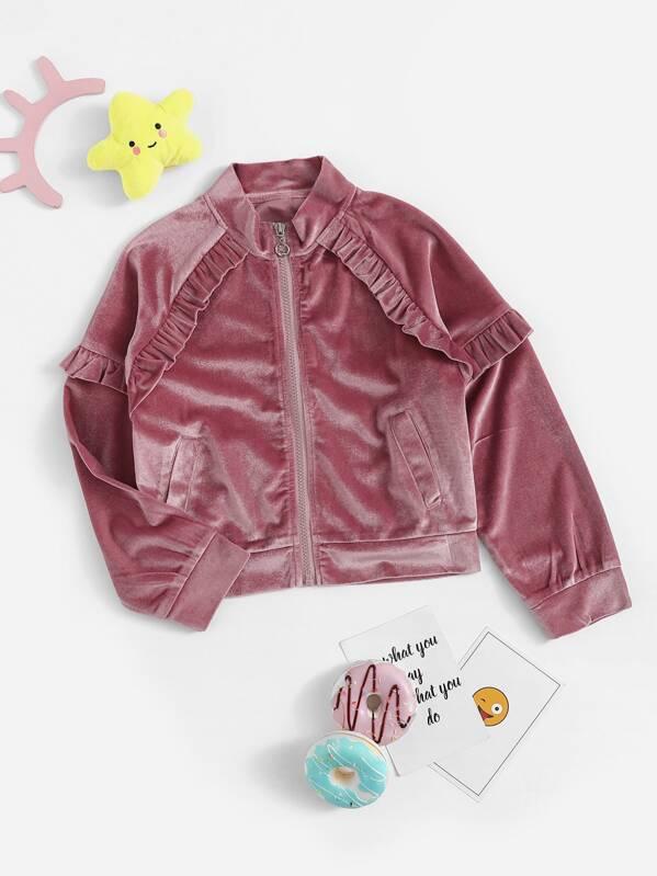 db685eb8c79 Girls Raglan Sleeve Ruffle Trim Velvet Jacket | SHEIN