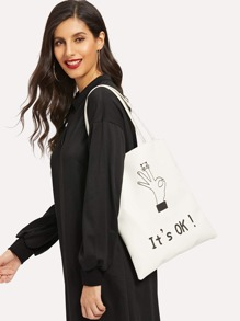 Letter And Gesture Print Tote Bag