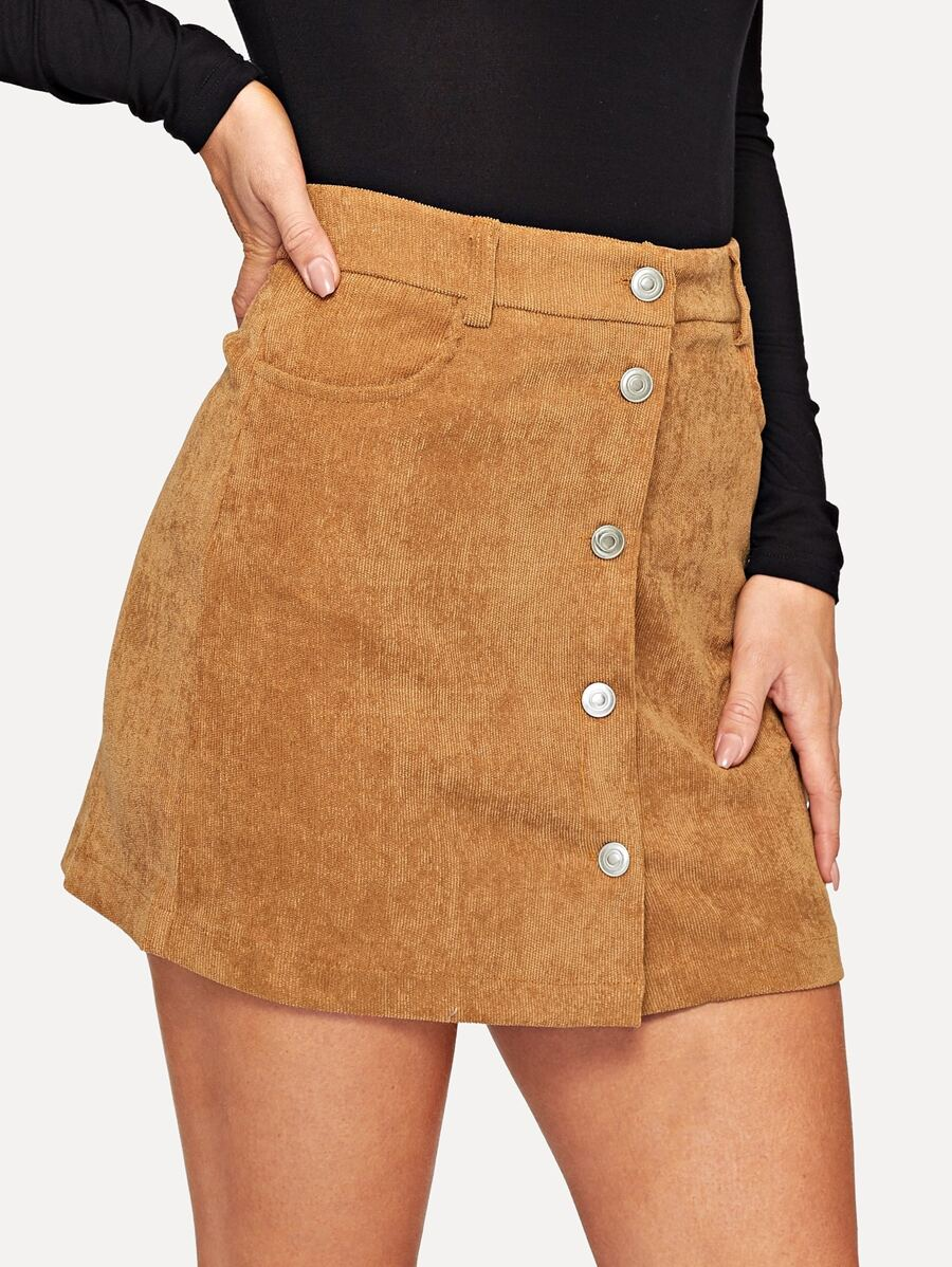 Slant Pocket Single Breasted Cord Skirt by Shein