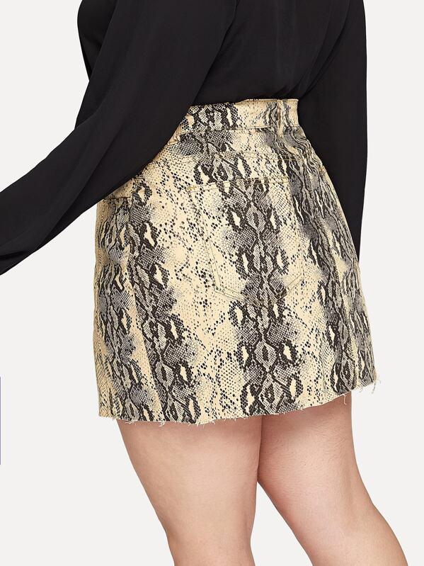 473e3aaf1f Cheap Plus Snakeskin Pattern Button Front Denim Skirt for sale Australia |  SHEIN