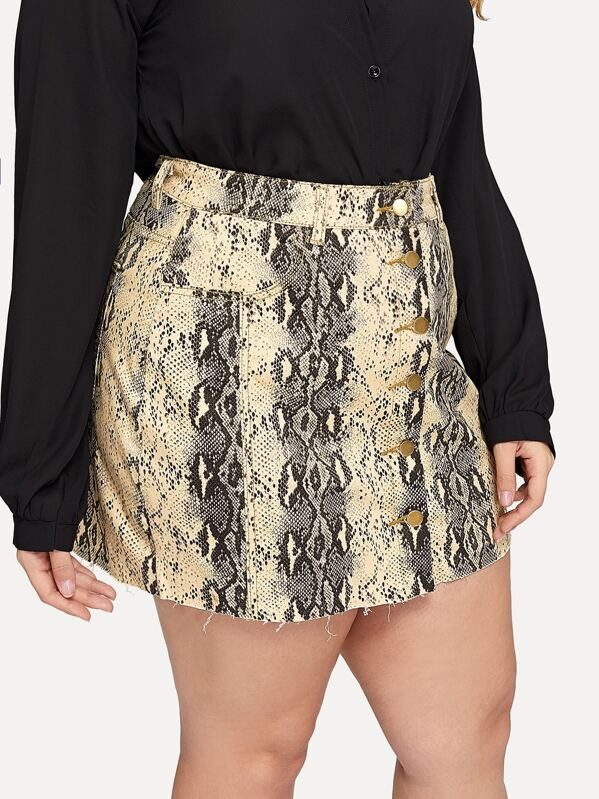 25fc312e26 Cheap Plus Snakeskin Pattern Button Front Denim Skirt for sale ...