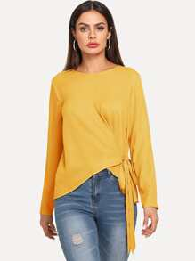 Knot Side Asymmetric Hem Top