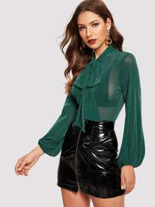 Tie Neck Lantern Sleeve Glitter Top