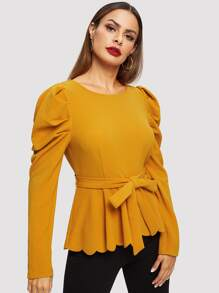 Gather Sleeve Tie Waist Scallop Edge Top