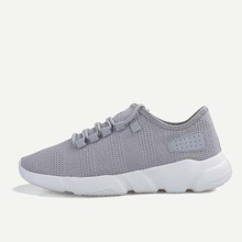 Men Lace-Up Front Fly Knit Sneakers