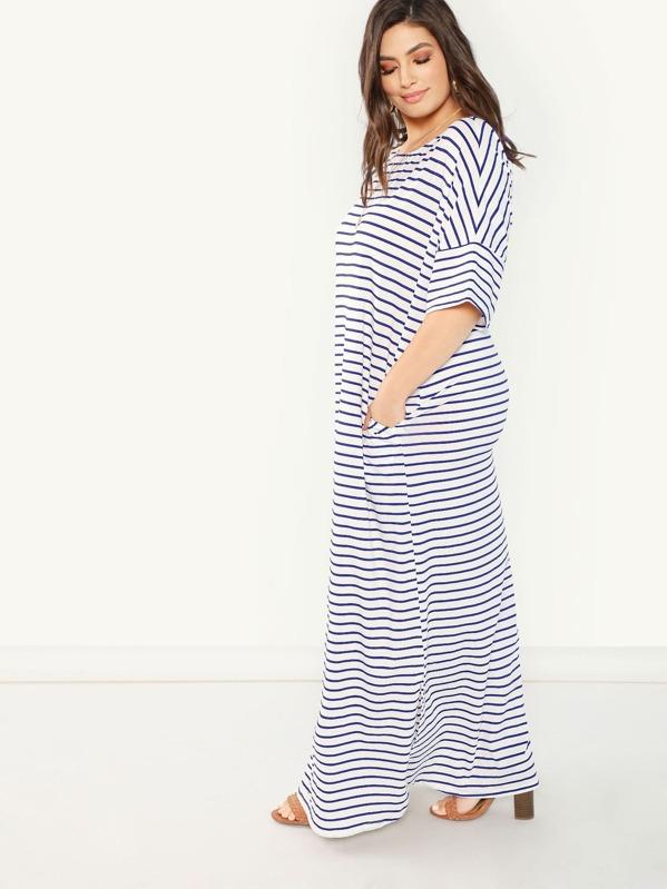 128a5c560320 Plus Pocket Side Slit Hem Striped Dress | SHEIN