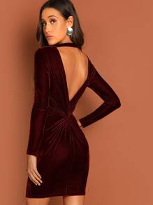 Twist V Neck Velvet Bodycon Dress