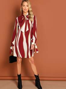 Tie Neck Knot Sleeve Striped Dress