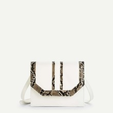 Contrast Snakeskin Pattern Flap Crossbody Bag