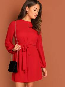 Blouson Sleeve Self Tie Dress