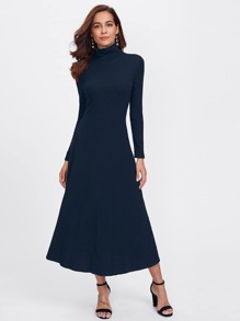 Turtle Neck Fit and Flare Rib-knit Dress