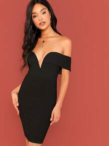 Plunging Neckline Bardot Bodycon Dress