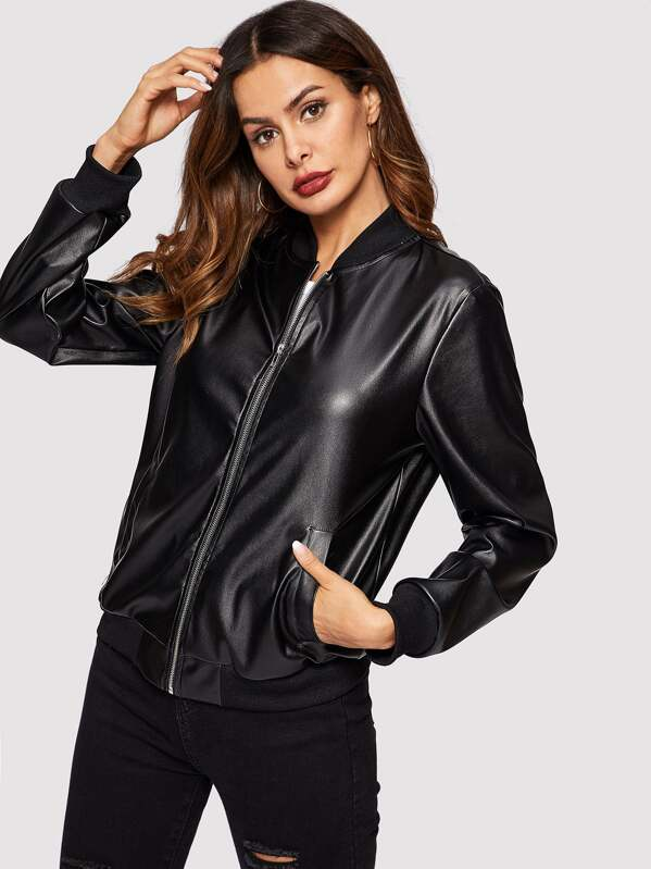 f28d9477c Zip Up Faux Leather Bomber Jacket