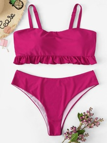 Plus Ruffle Top With High Waist Bikini Set