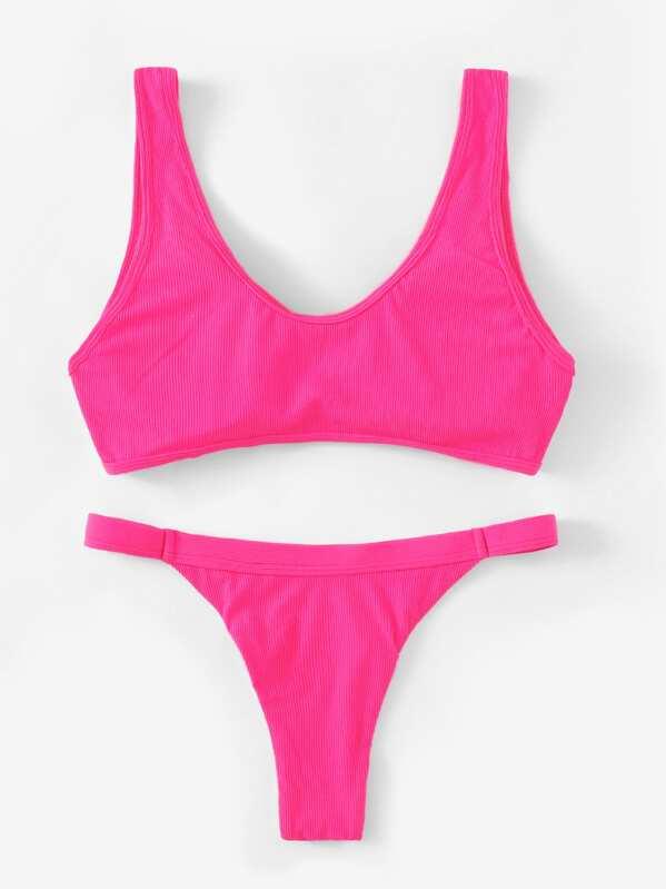 9b2d8b1762 Cheap Neon Pink Cut-Out Top With Tanga Bikini for sale Australia | SHEIN