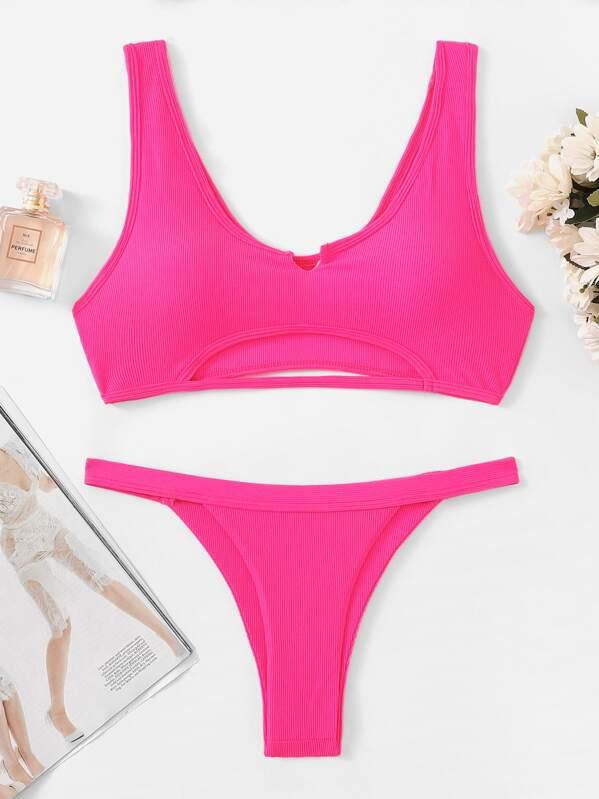 64d15c2447 Neon Pink Cut-Out Top With Tanga Bikini   SHEIN