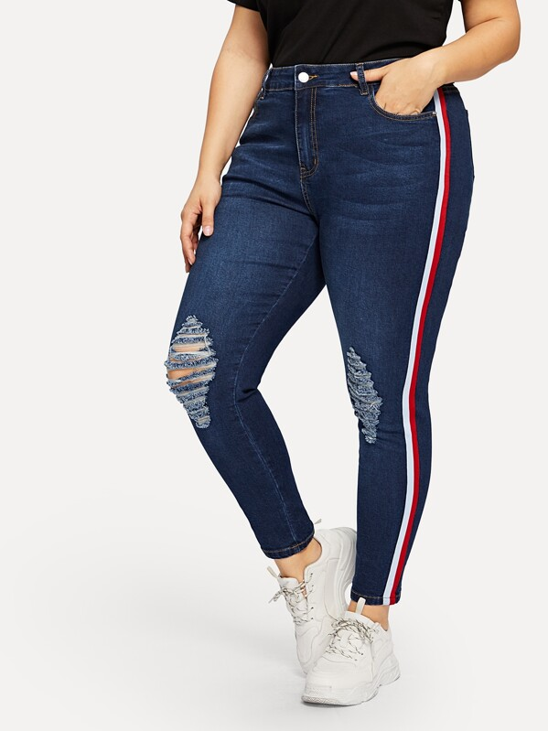 Plus Stripe Side Ripped Jeans by Shein