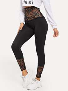 Contrast Lace Sheer Leggings
