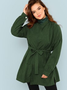 Plus Drop Shoulder Belted Coat