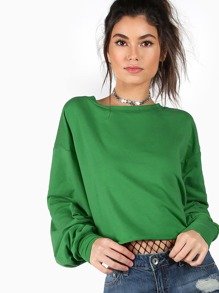 Drop Shoulder Bishop Sleeve Crop Sweatshirt