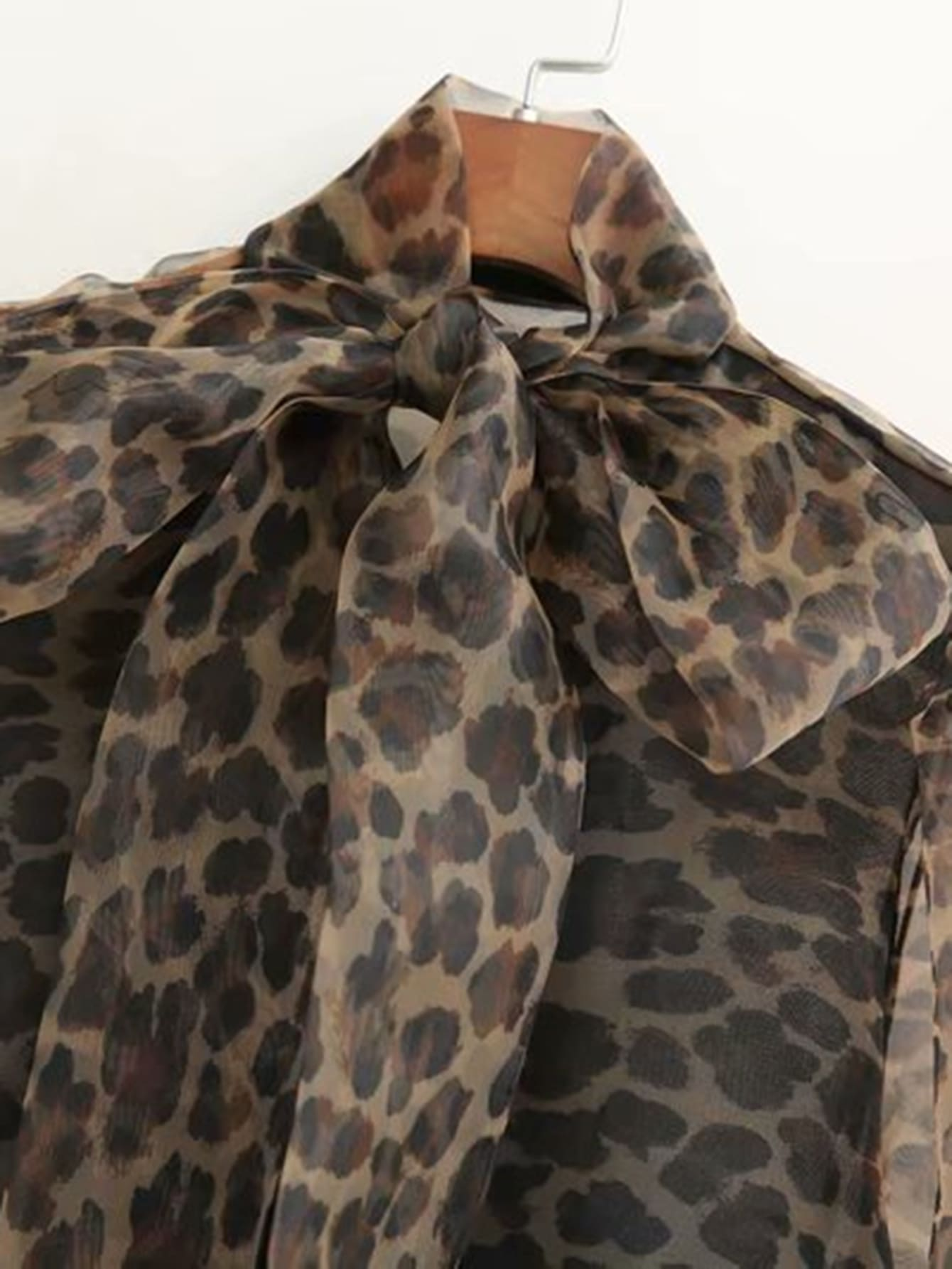 aa79068bc797 Organza Pussybow Leopard Sheer Blouse | SHEIN