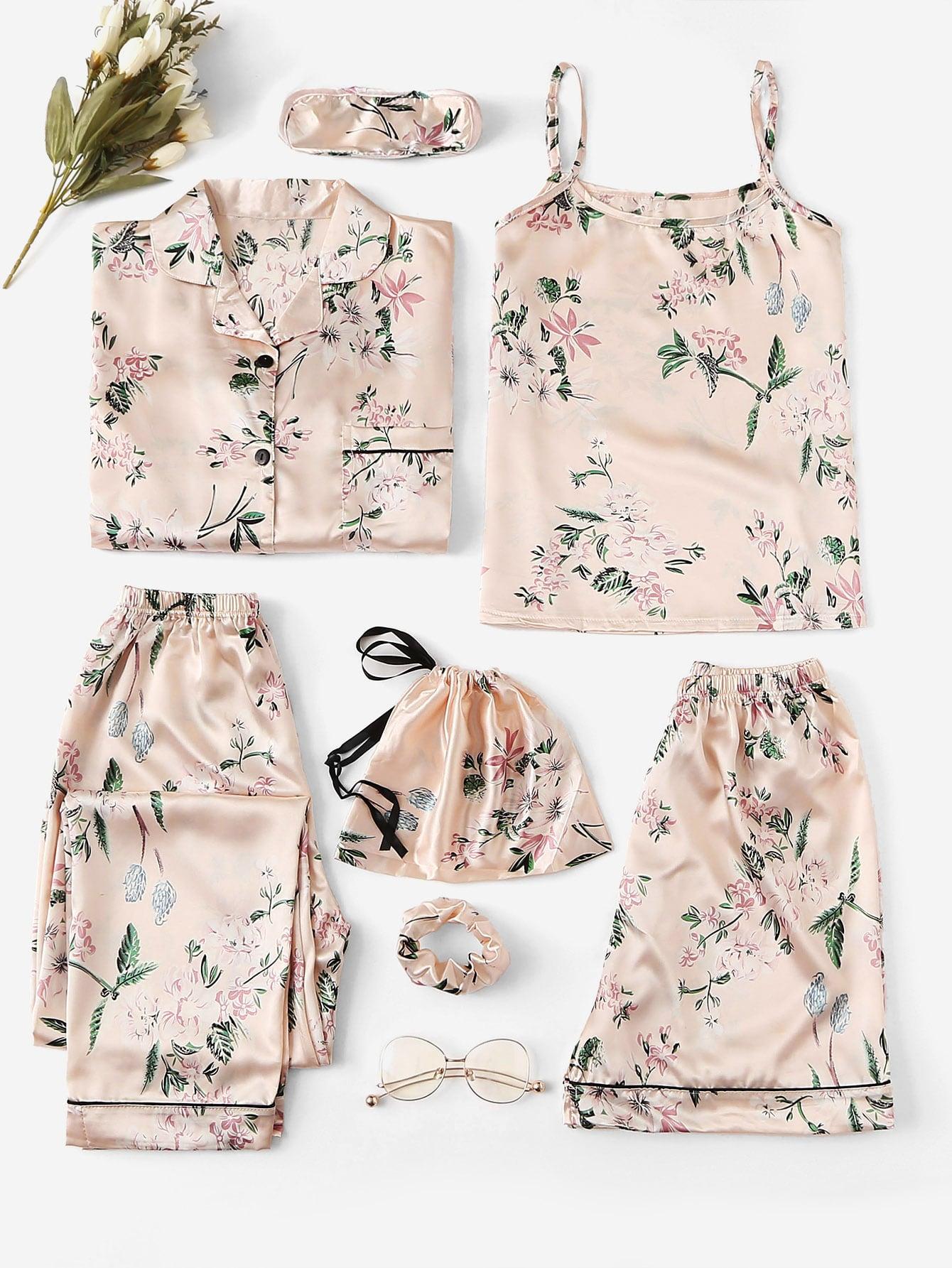 7 шт сатиновая пижама на бретелях PJ с цветочным принтом и рубашка thumbnail