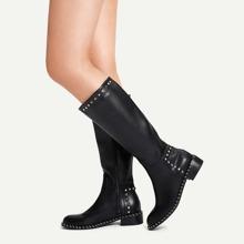Studded Decor Side Zipper Boots