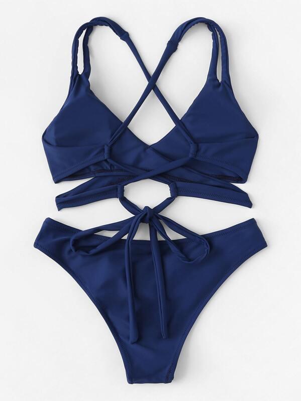 f304751adf Criss Cross Wrap Top With High Leg Bikini Set | SHEIN