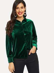 Velvet Pocket Detail Trim Button Front Blouse