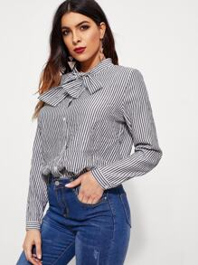 Tie Neck Striped Trim Button Front Blouse