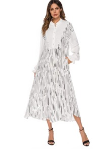 Button Half Placket Flounce Sleeve Longline Shirt Dress