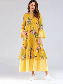 Floral Print Flounce Sleeve Tiered Layer Longline Dress