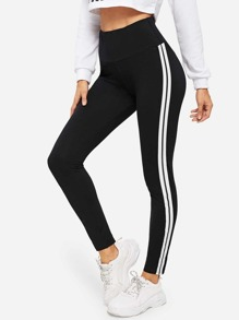 Tuxedo Stripe Wide Waistband Leggings