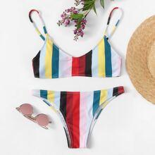 Striped Print Top With Seam Detail Bikini