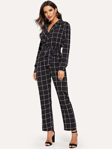 Window Pane Check Belted Jumpsuit