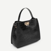 SHEIN | Crocodile Pattern Satchel Bag | Goxip