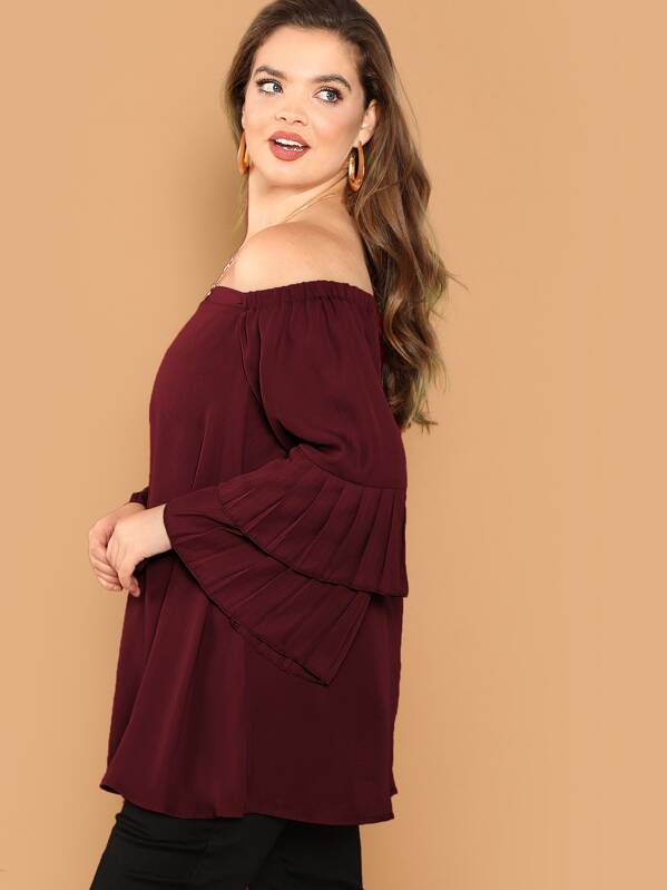 aa4024b4a73c14 Plus Off Shoulder Pleated Layered Sleeve Top