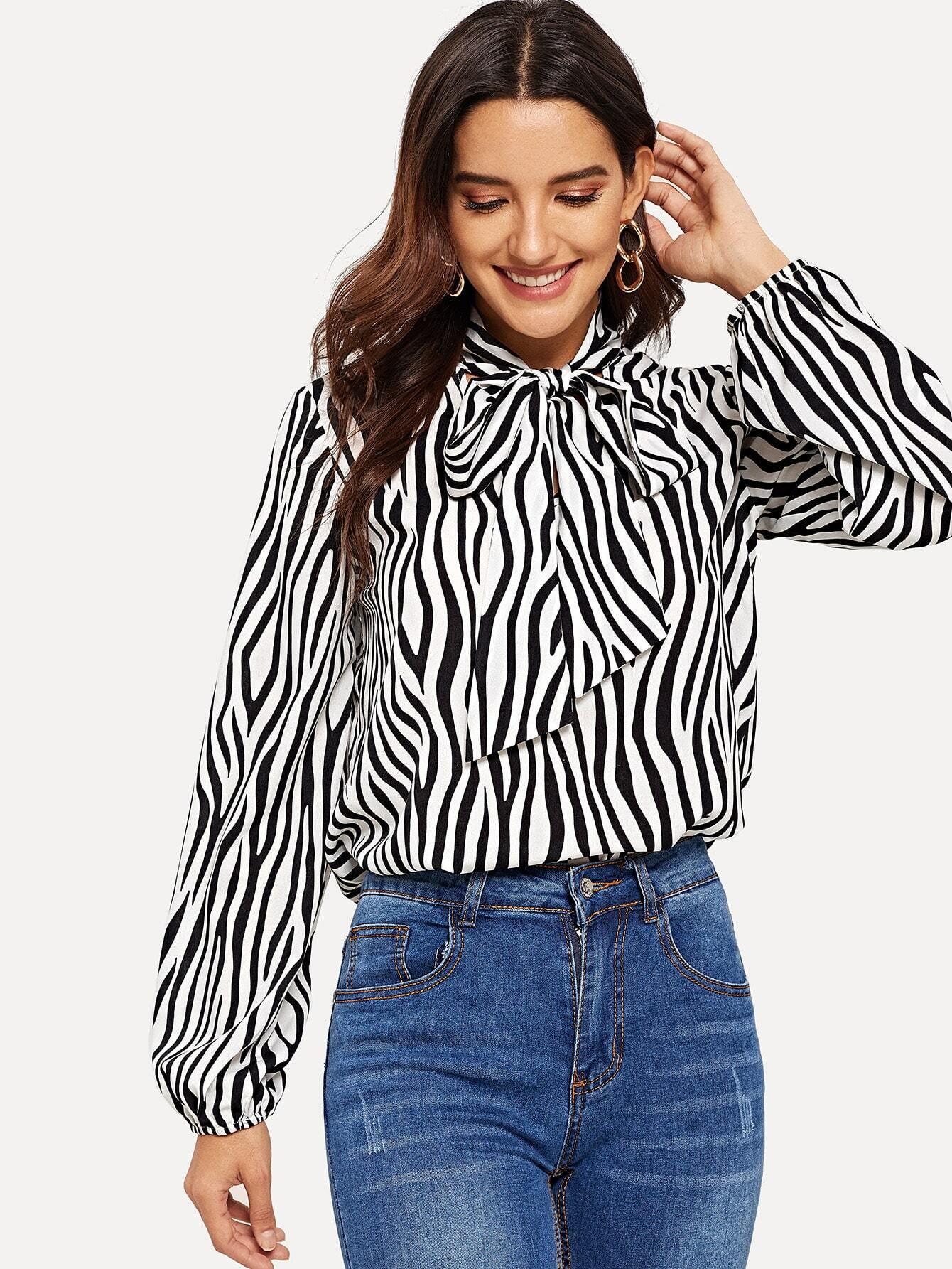 elegant in style latest selection 100% authentic Tie Neck Zebra Print Top