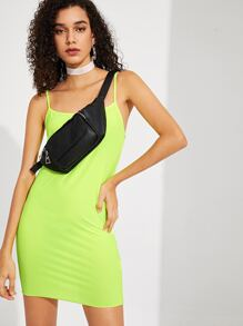 Neon Yellow Fitted Cami Dress